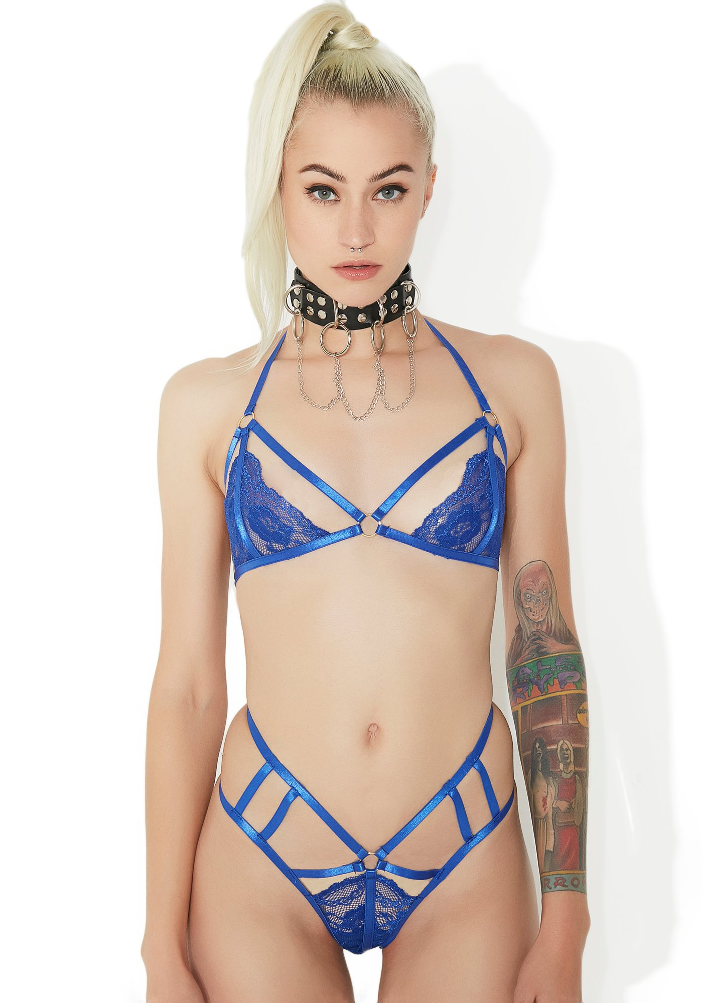 Lace Cage Harness Lingerie Set Blue