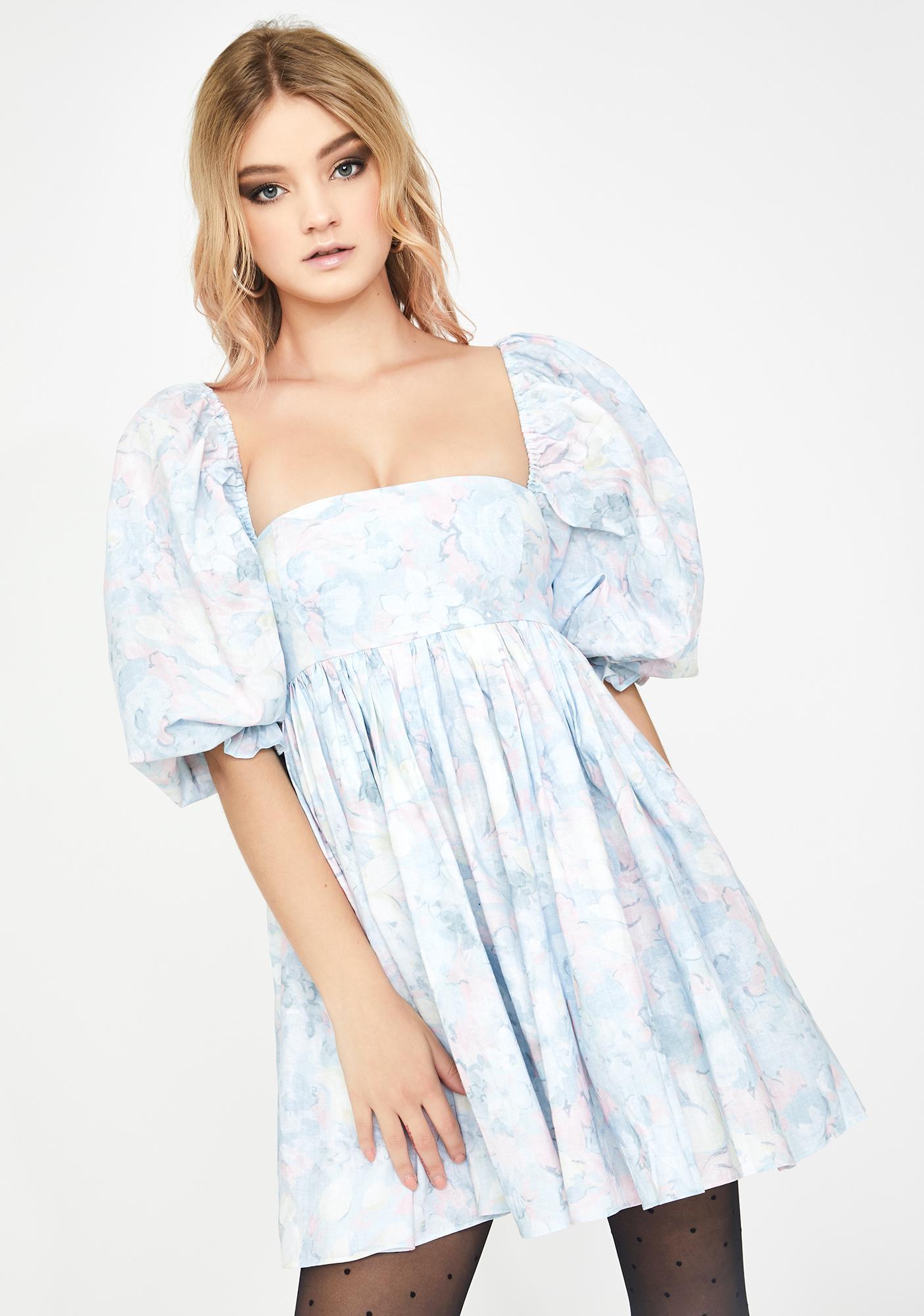 Selkie Monet Print Puff Dress