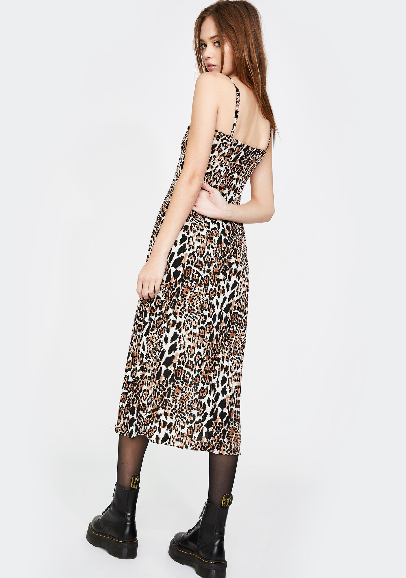Honey Punch Leopard Print Midi Dress