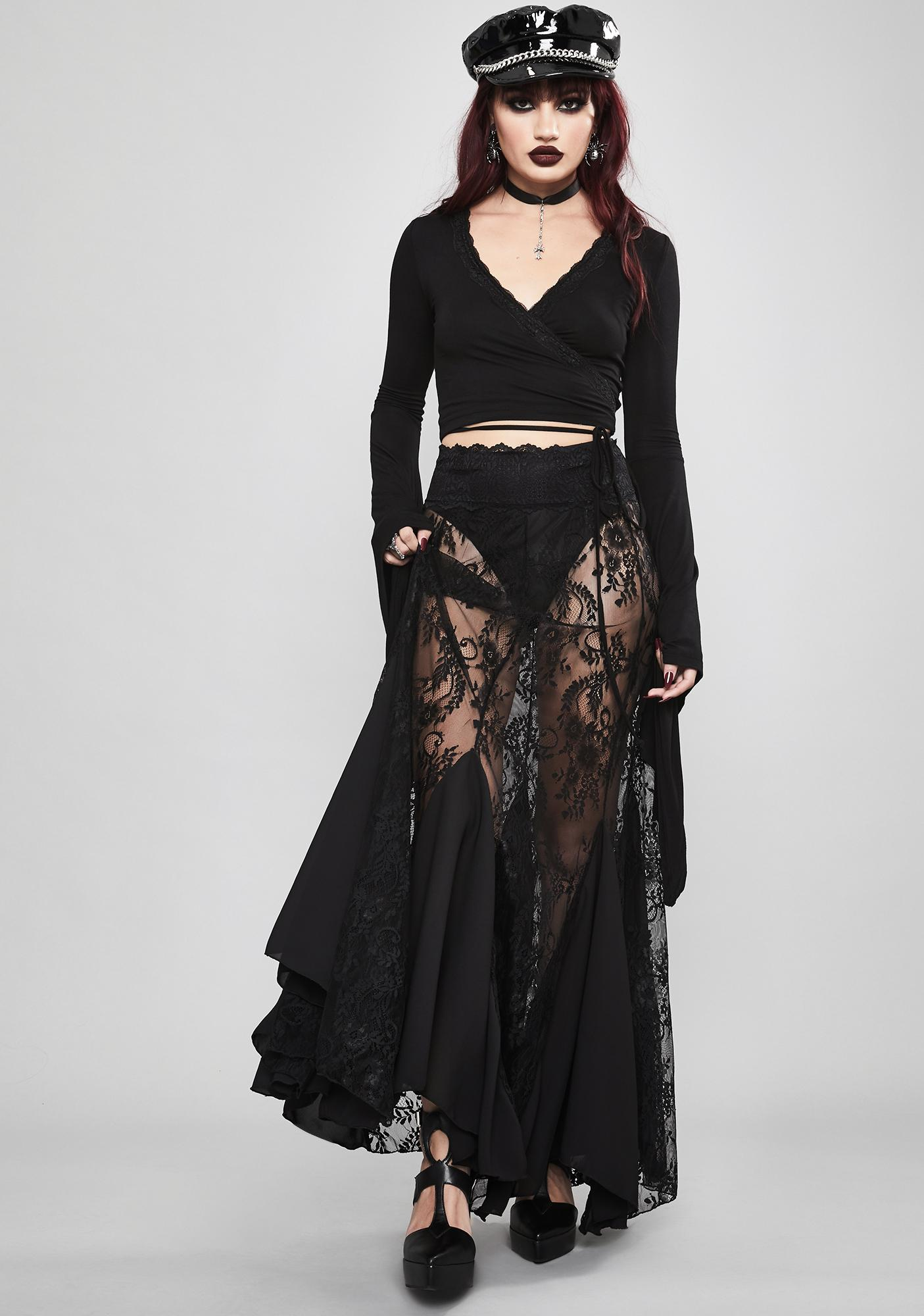 Widow Shrouded In Mystery Lace Skirt