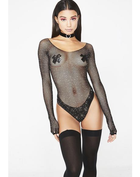 Frozen Ice Rhinestone Fishnet Bodysuit