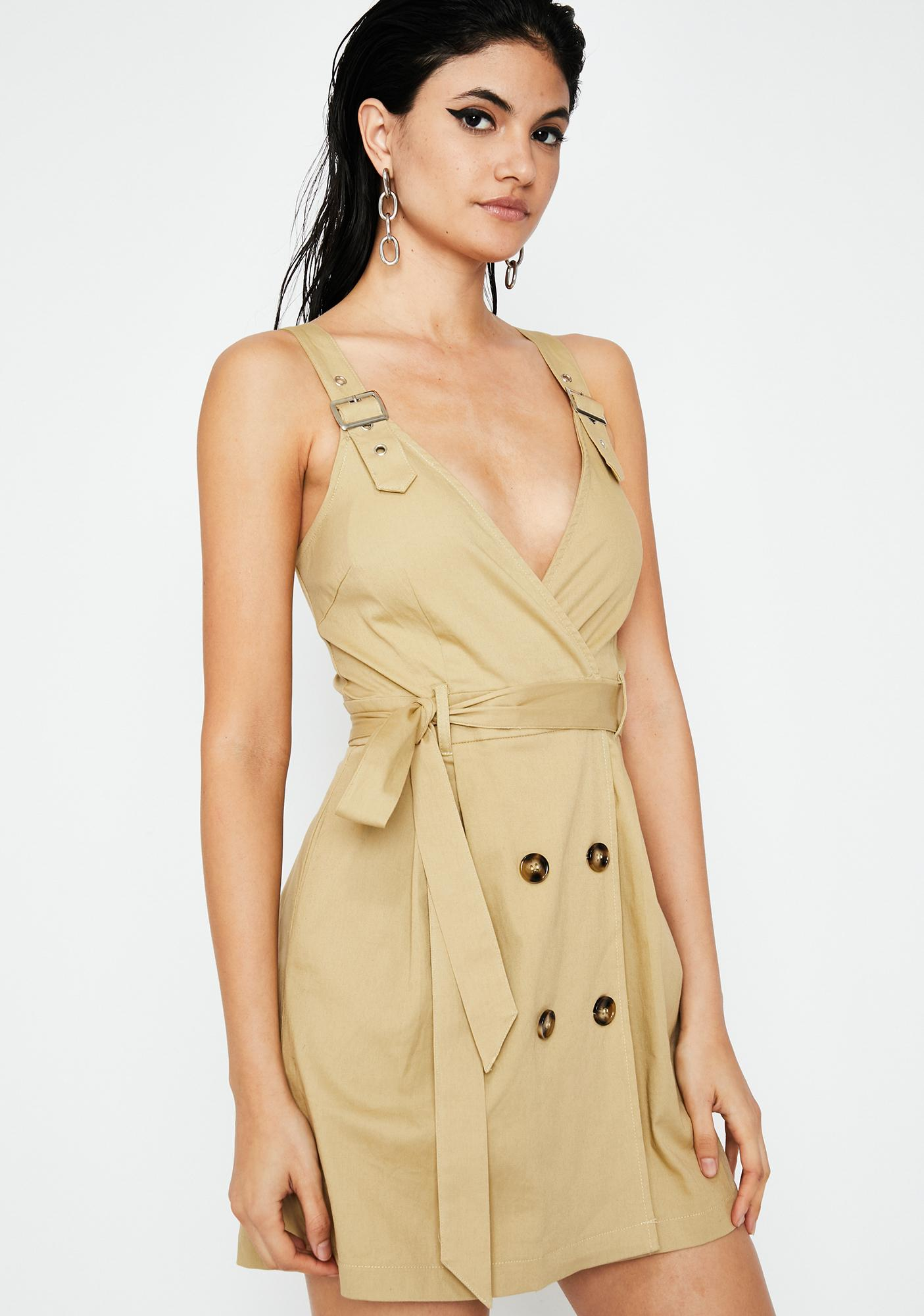 f348f8666cf5 Trench Style Mini Dress Brown | Dolls Kill