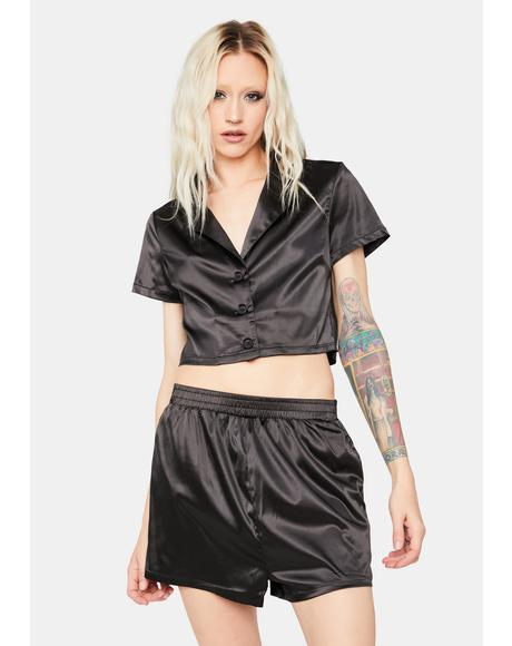 Money Mindset Satin Shorts Set