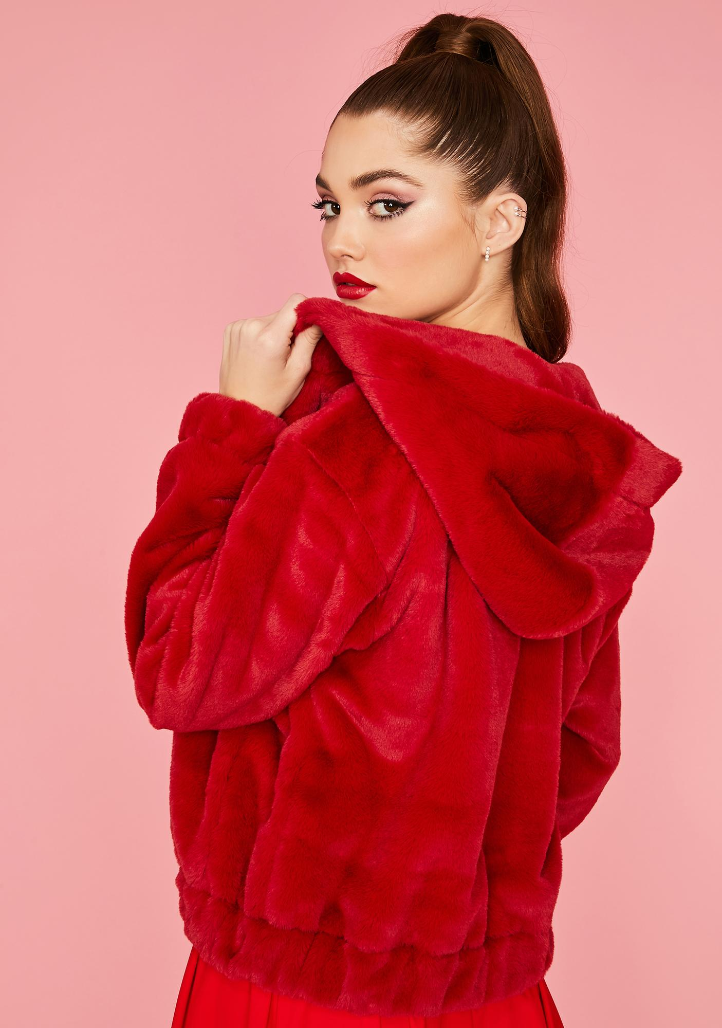 Scarlet Misty Petals Faux Fur Jacket