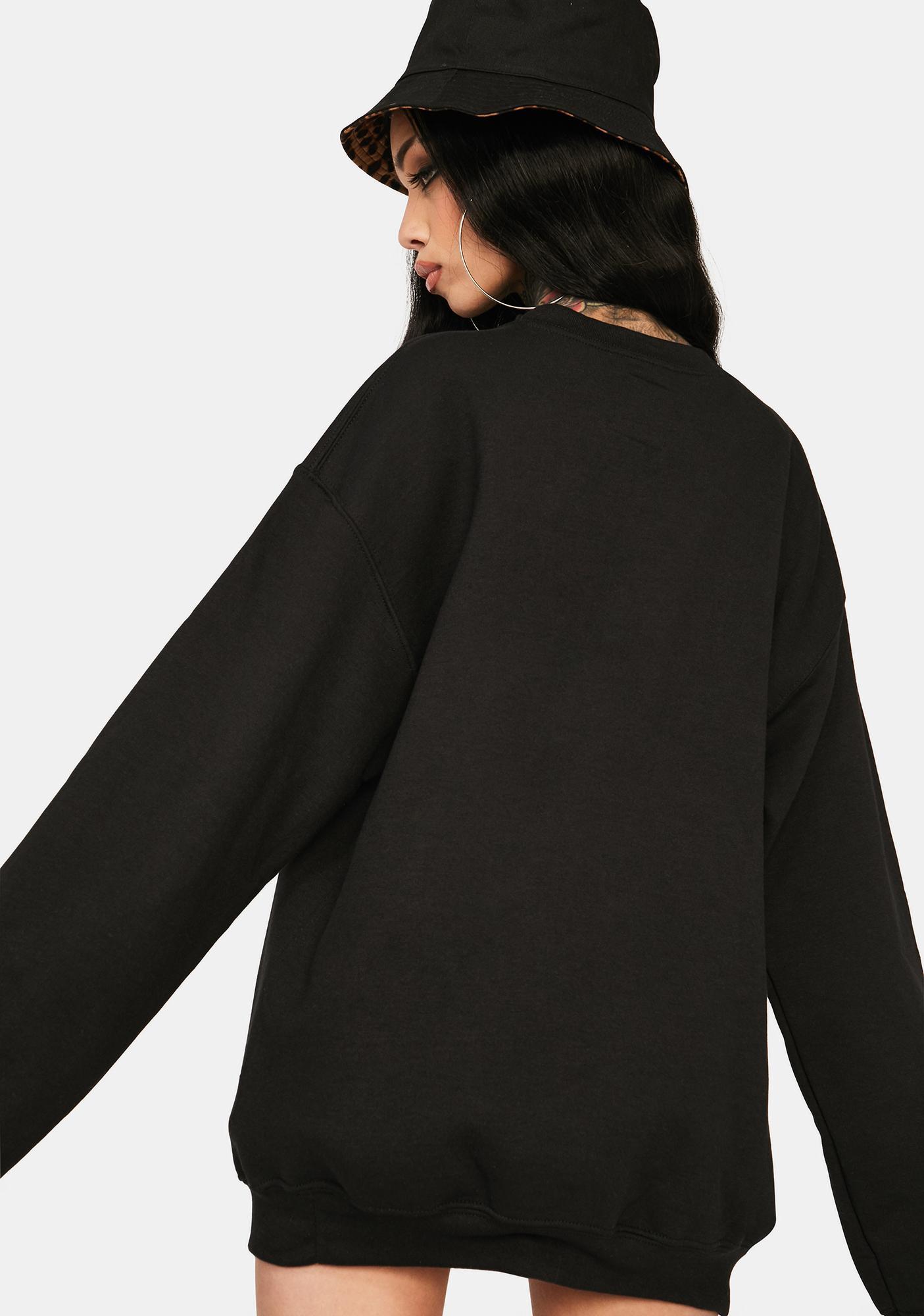 Petals and Peacocks Black Non Toxic Graphic Sweatshirt