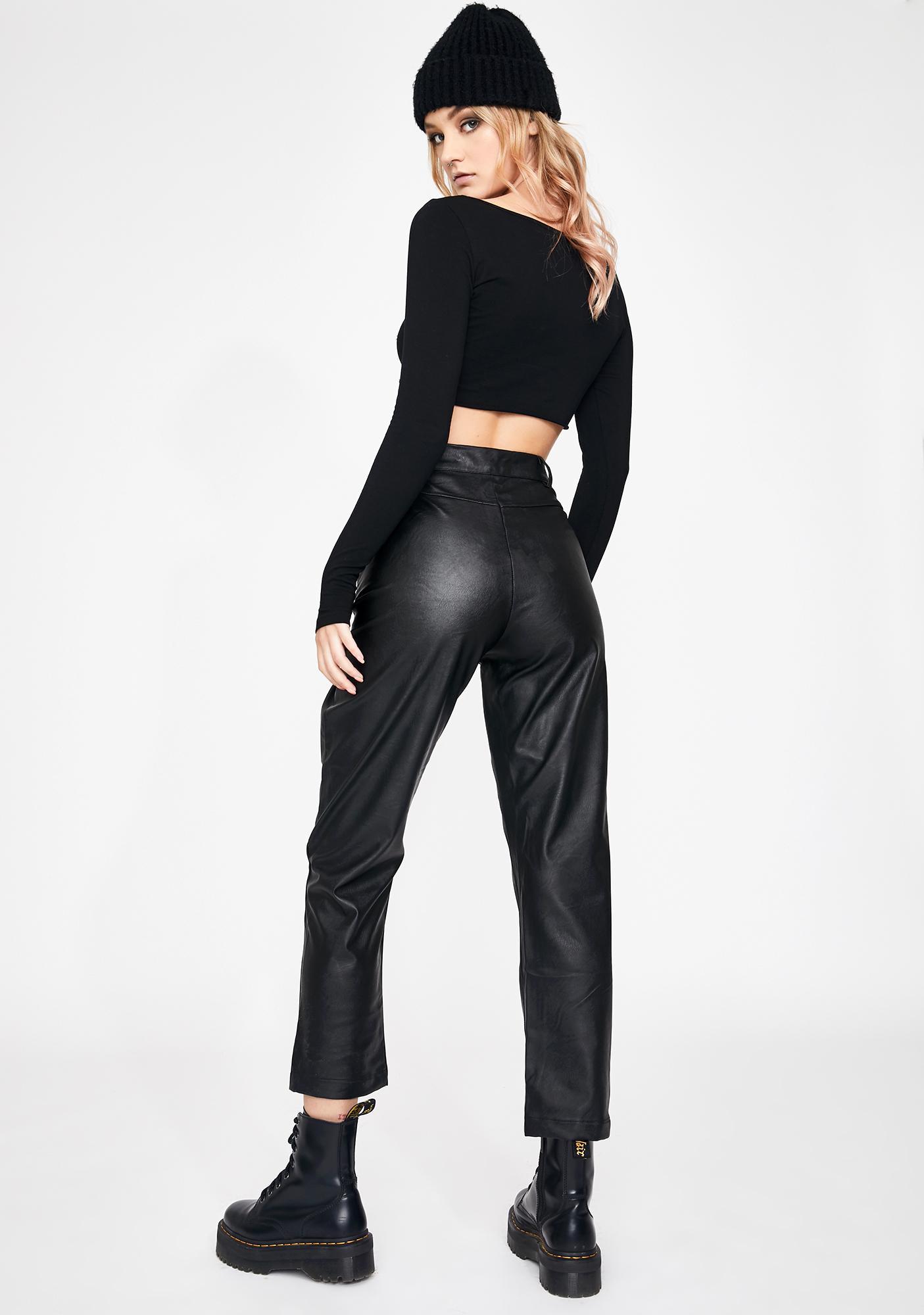 Daisy Street PU Straight Fit Trousers