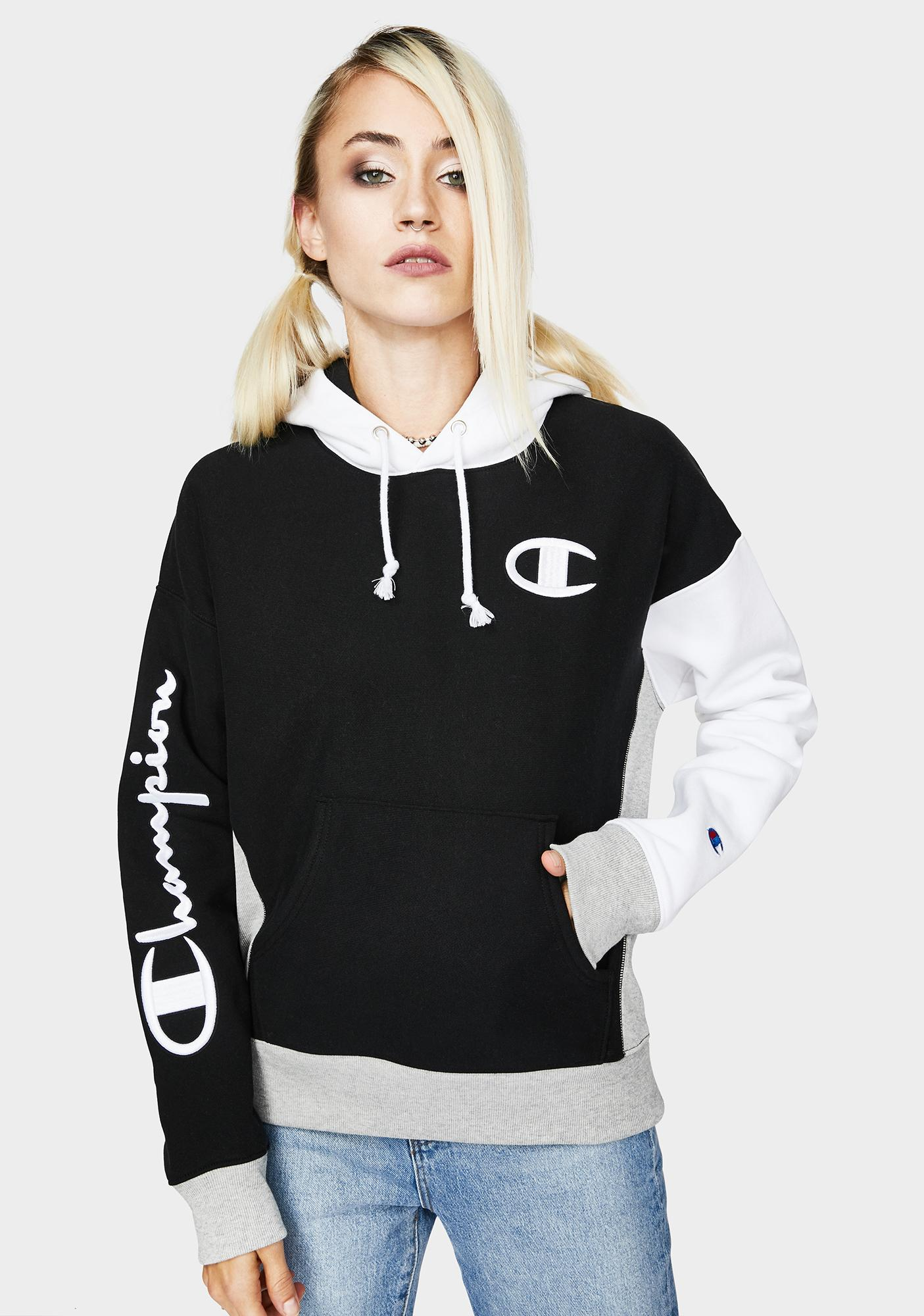 Champion Black Reverse Weave Colorblock Hoodie