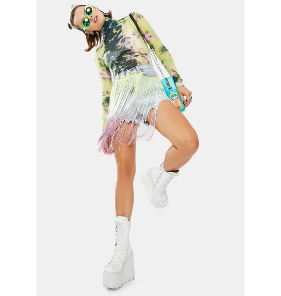 Glamorous Acid Wash Fringe Denim Shorts