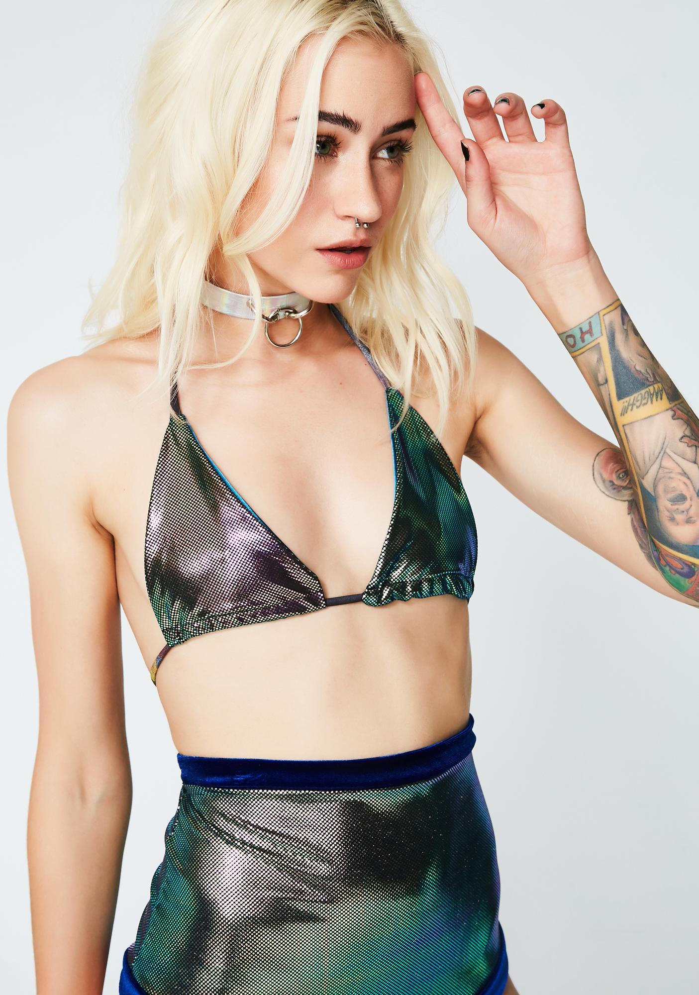 LUX MUSE Oil Spill Bikini Top