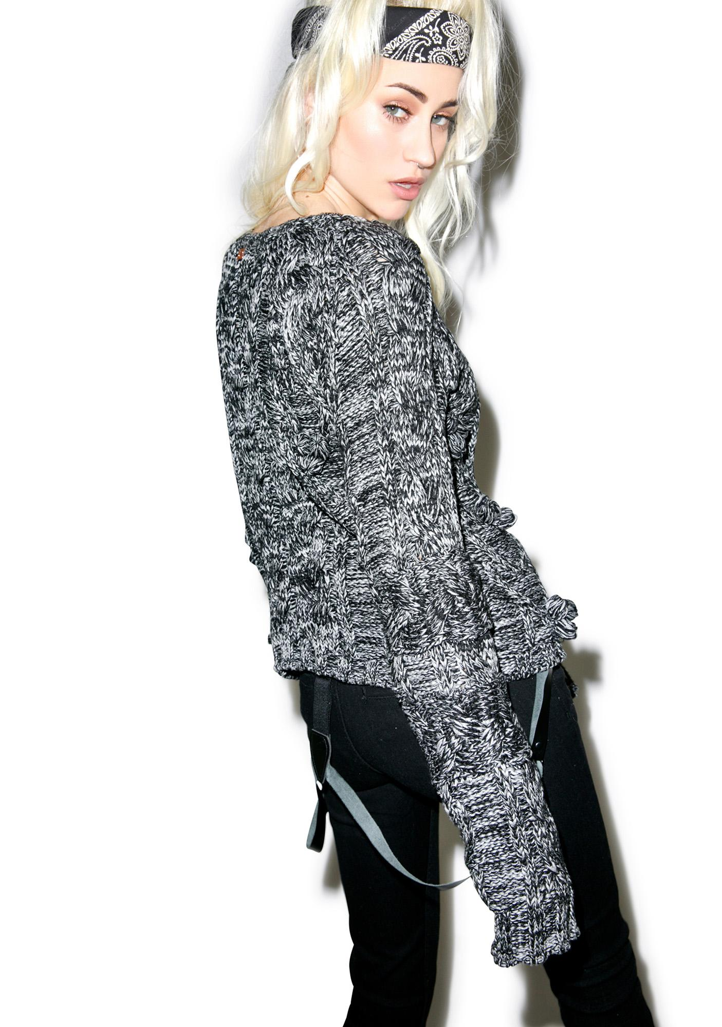 For Love & Lemons Heather Braided Cable Pullover Sweater
