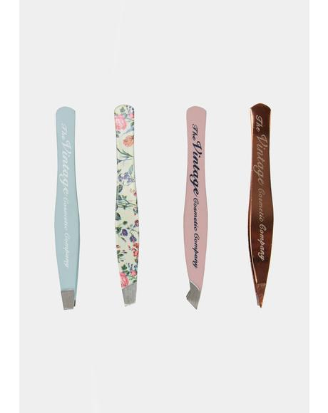 Floral 4-Piece Mini Tweezer Set
