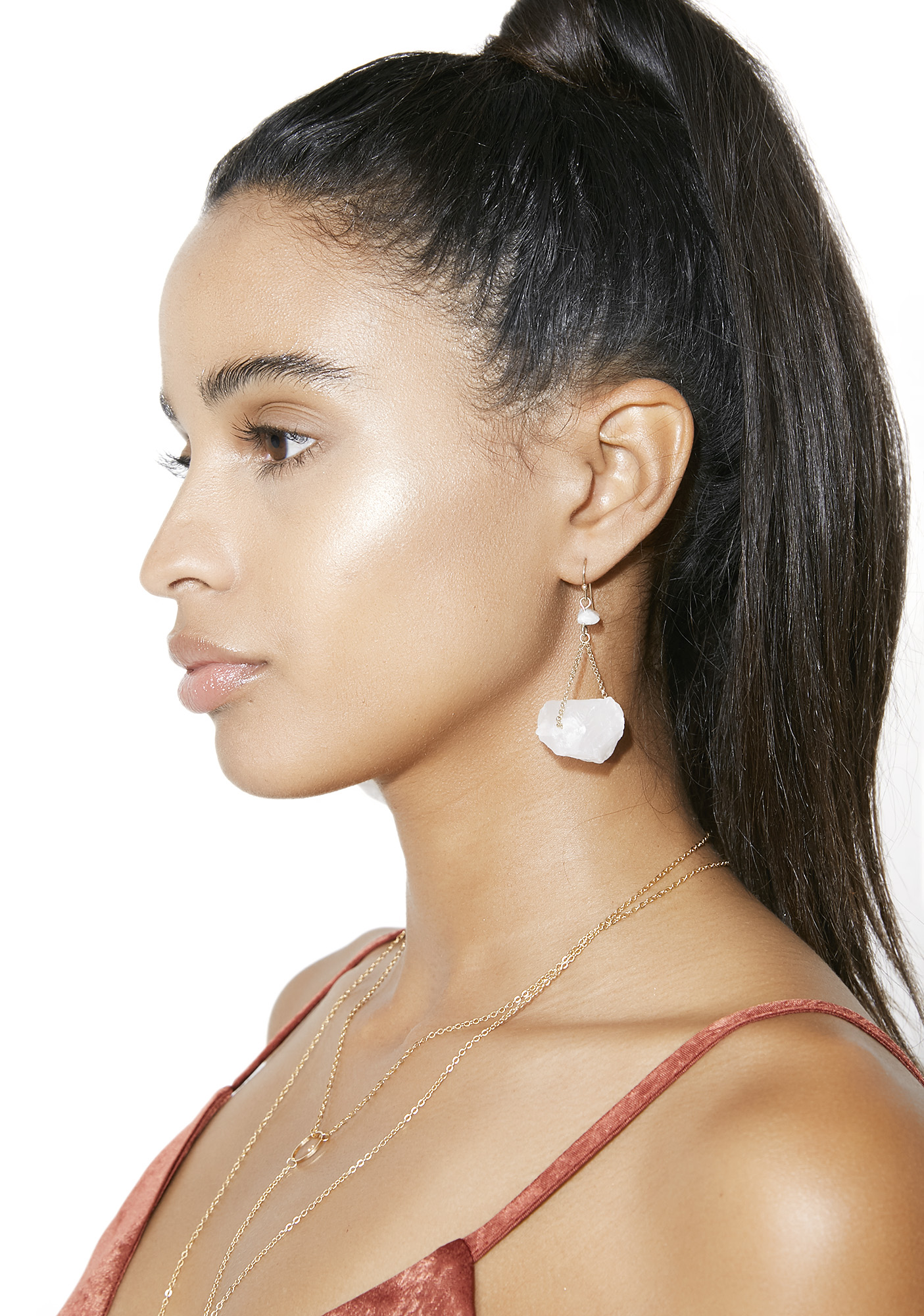 White Crystal Chunk Dangle Earrings