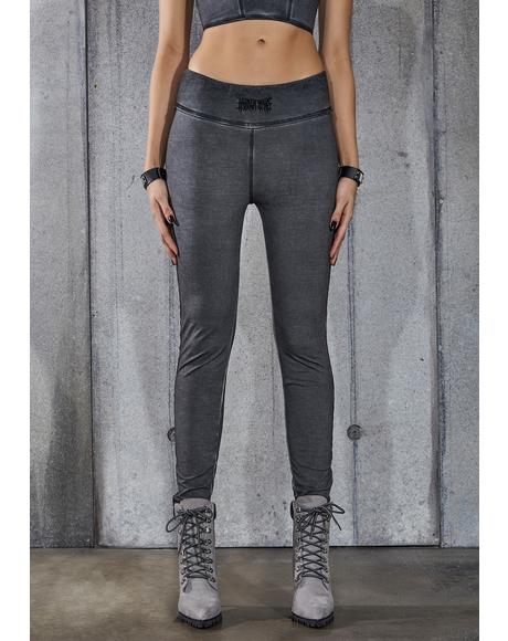 Snare Washed Black Low Rise Leggings