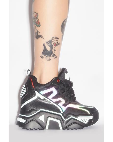 Noir Stop Look N' Glisten Platform Sneakers