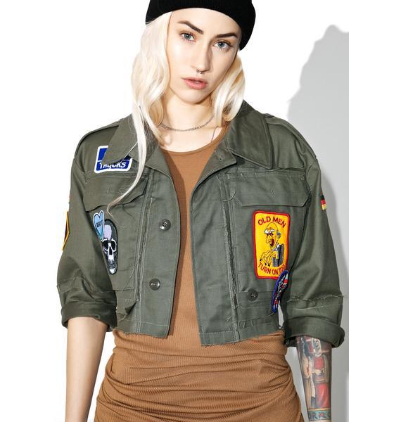 Hazmat Design Vintage Deadstock Fuck Cropped Military Jacket