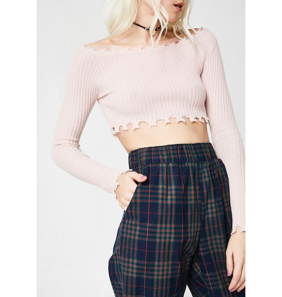 Messy Princess Crop Sweater