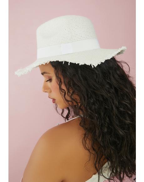 Lost Myself Raw Edge Straw Sun Hat