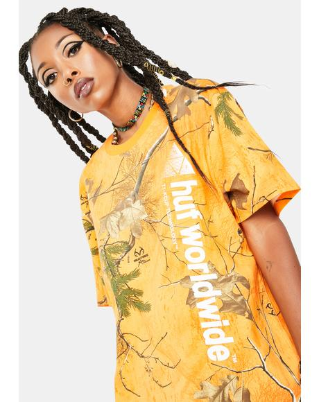 Orange Realtree Peak Logo Graphic Tee