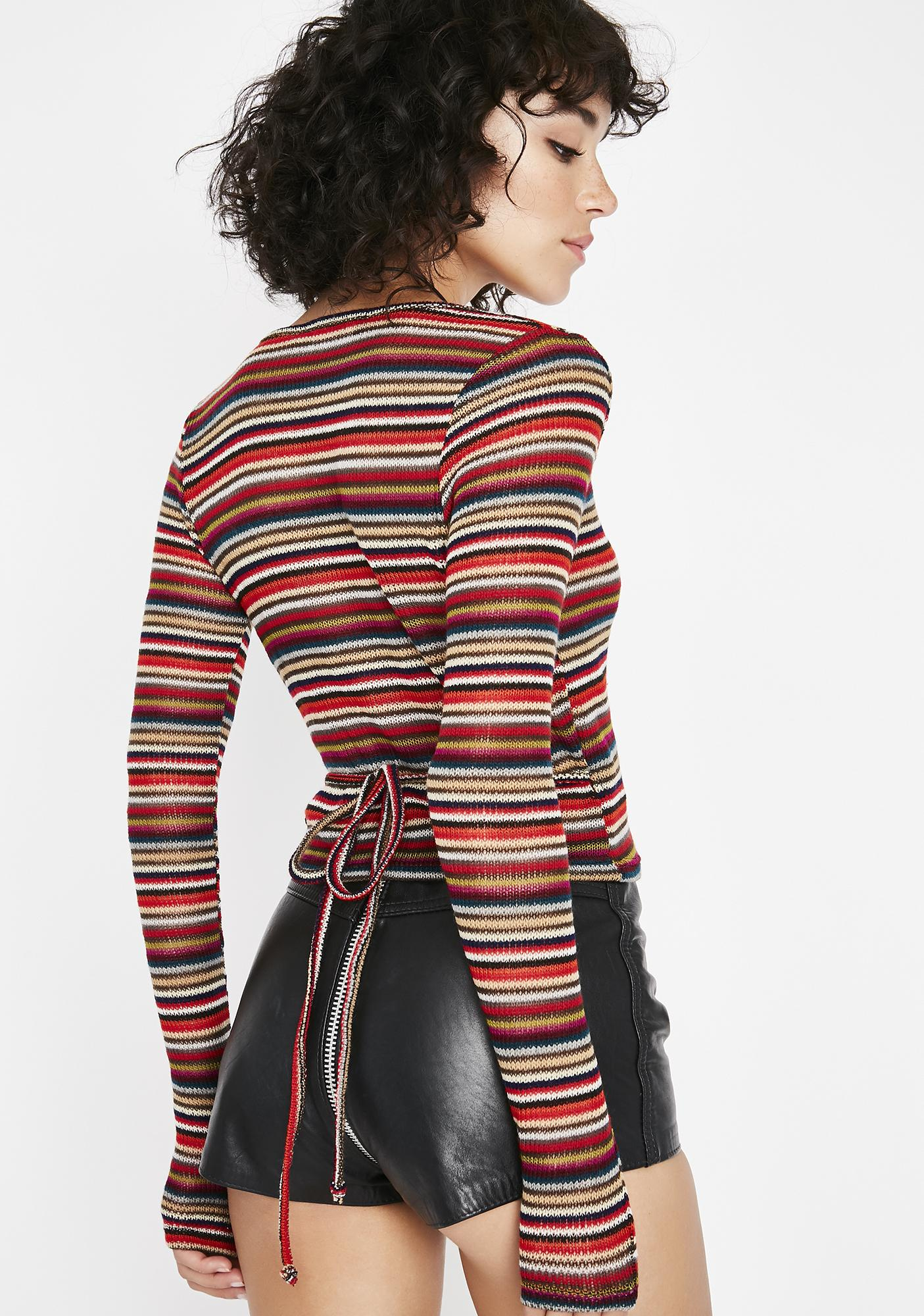 Come Over Striped Wrap Top