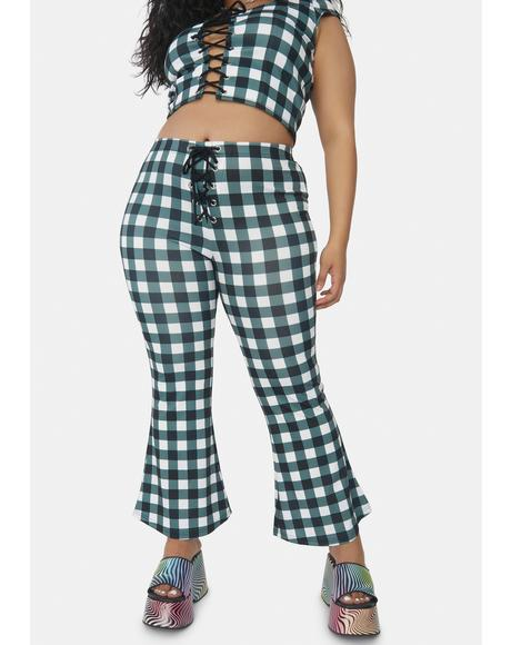 I'll Remember This Forever Gingham Kick Flares