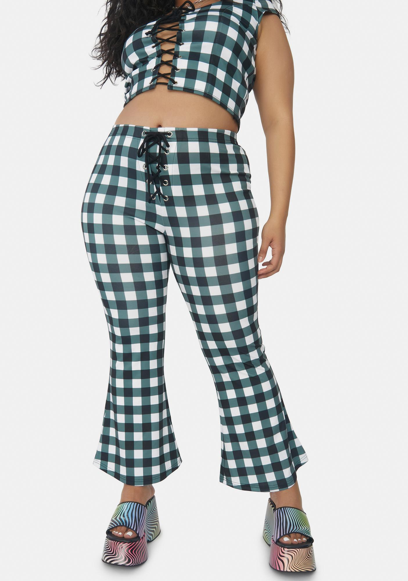 Current Mood I'll Remember This Forever Gingham Kick Flares