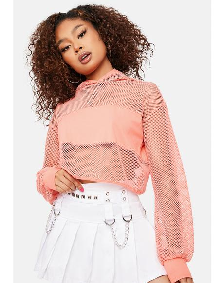 Peachy Secure The Bag Fishnet Hoodie