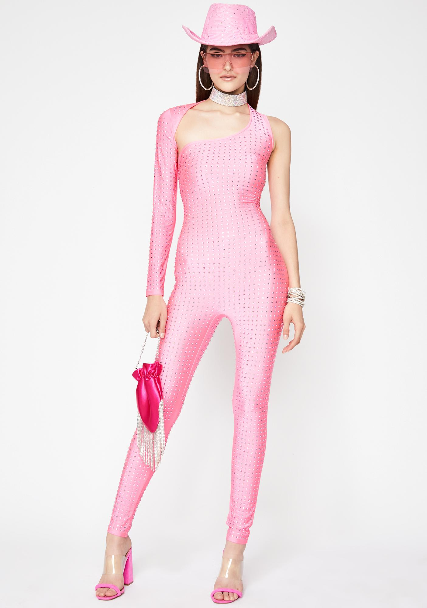 Pretty Flossy Facts Rhinestone Catsuit