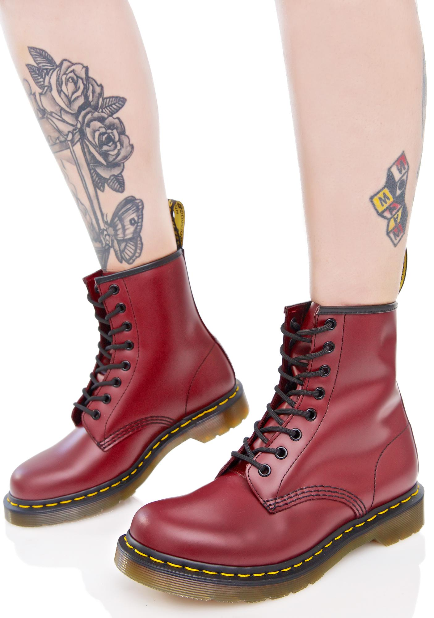 1be407b25286 Dr. Martens Cherry Red 1460 8 Eye Boots