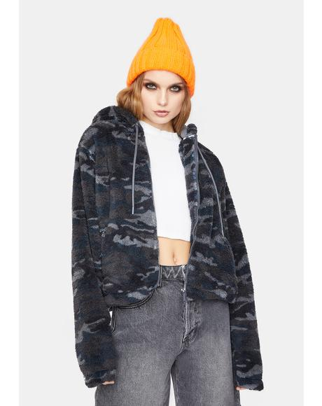 Cropped Sherpa Fleece Jacket