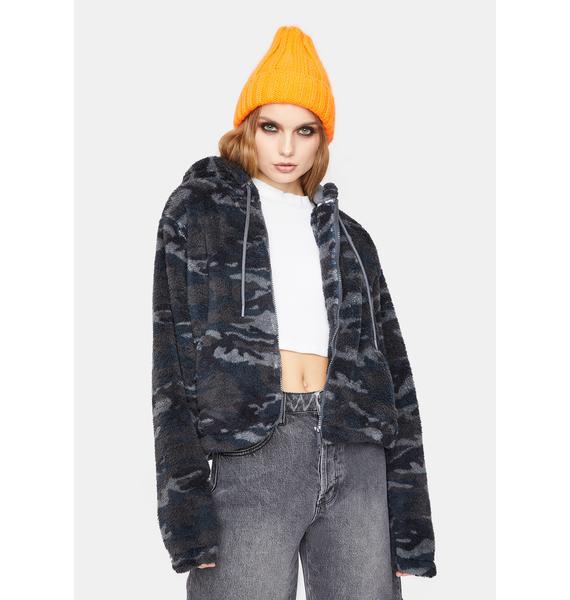 Dickies Girl Cropped Sherpa Fleece Jacket