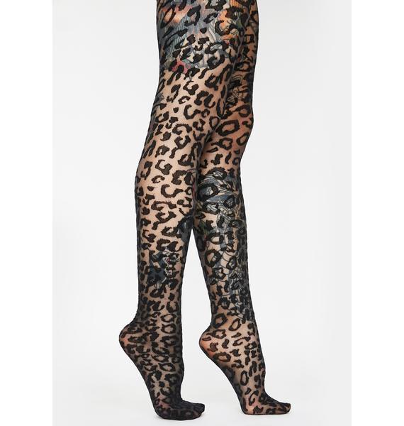 Night Jungle Runaway Leopard Tights