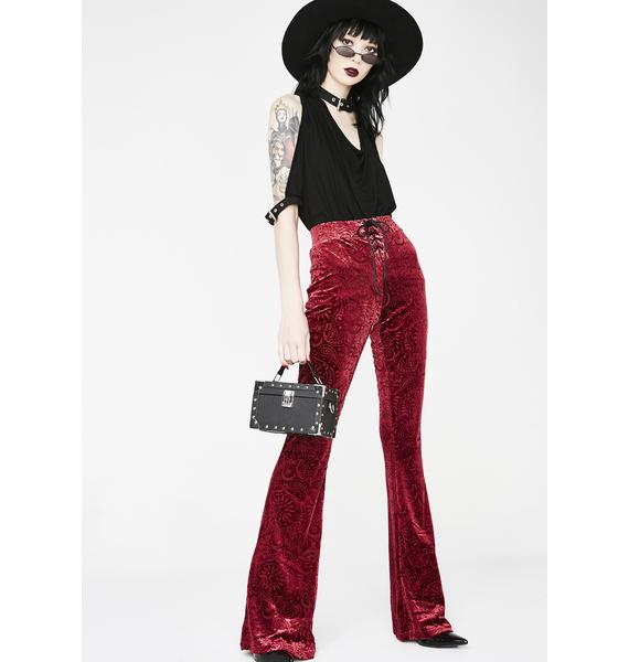 Killstar Wine Bellatrix Burnout Velvet Bell Bottoms