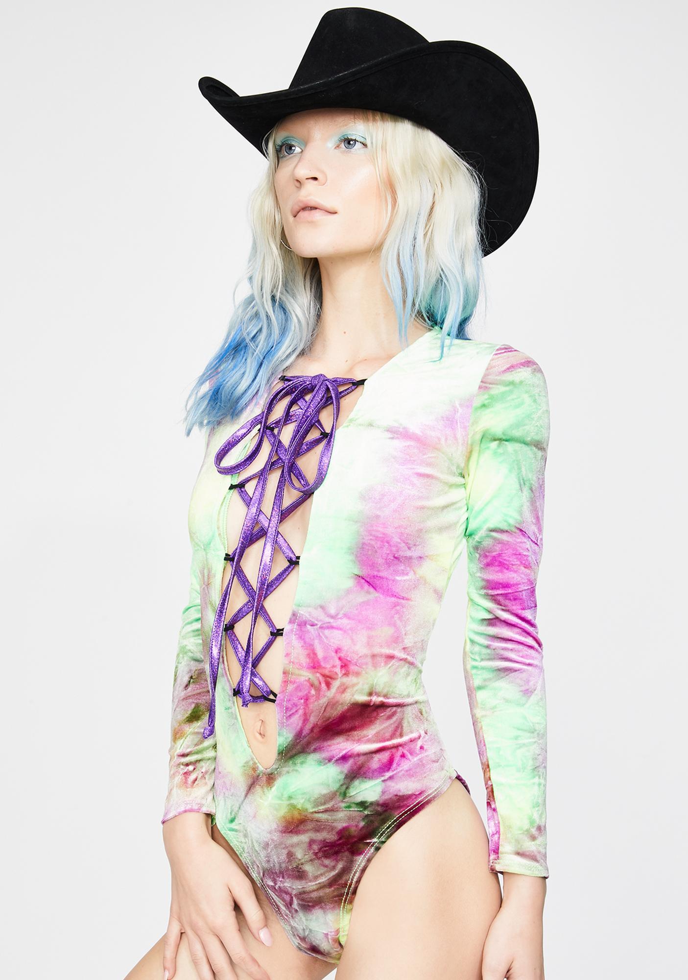 J Valentine Toad Lick Velvet Lace-Up Bodysuit