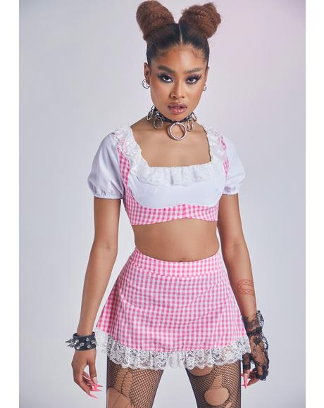 Blush In Louvre With U Underbust Gingham Skirt Set