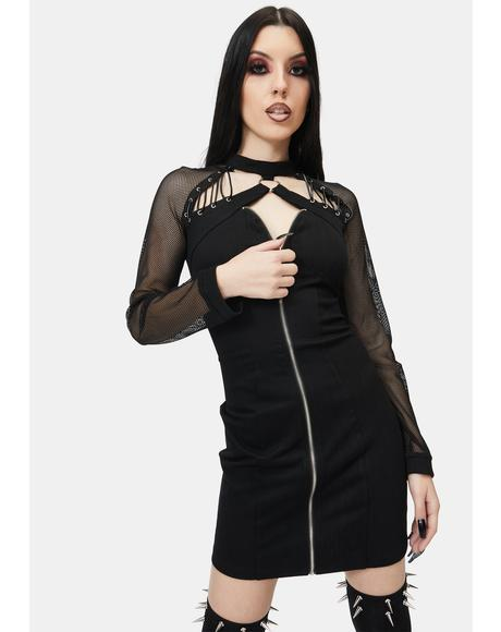 Mesh Zipper Mini Dress