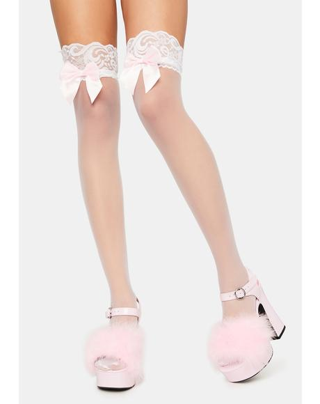 Blush Merci Madame Bow Thigh High Socks