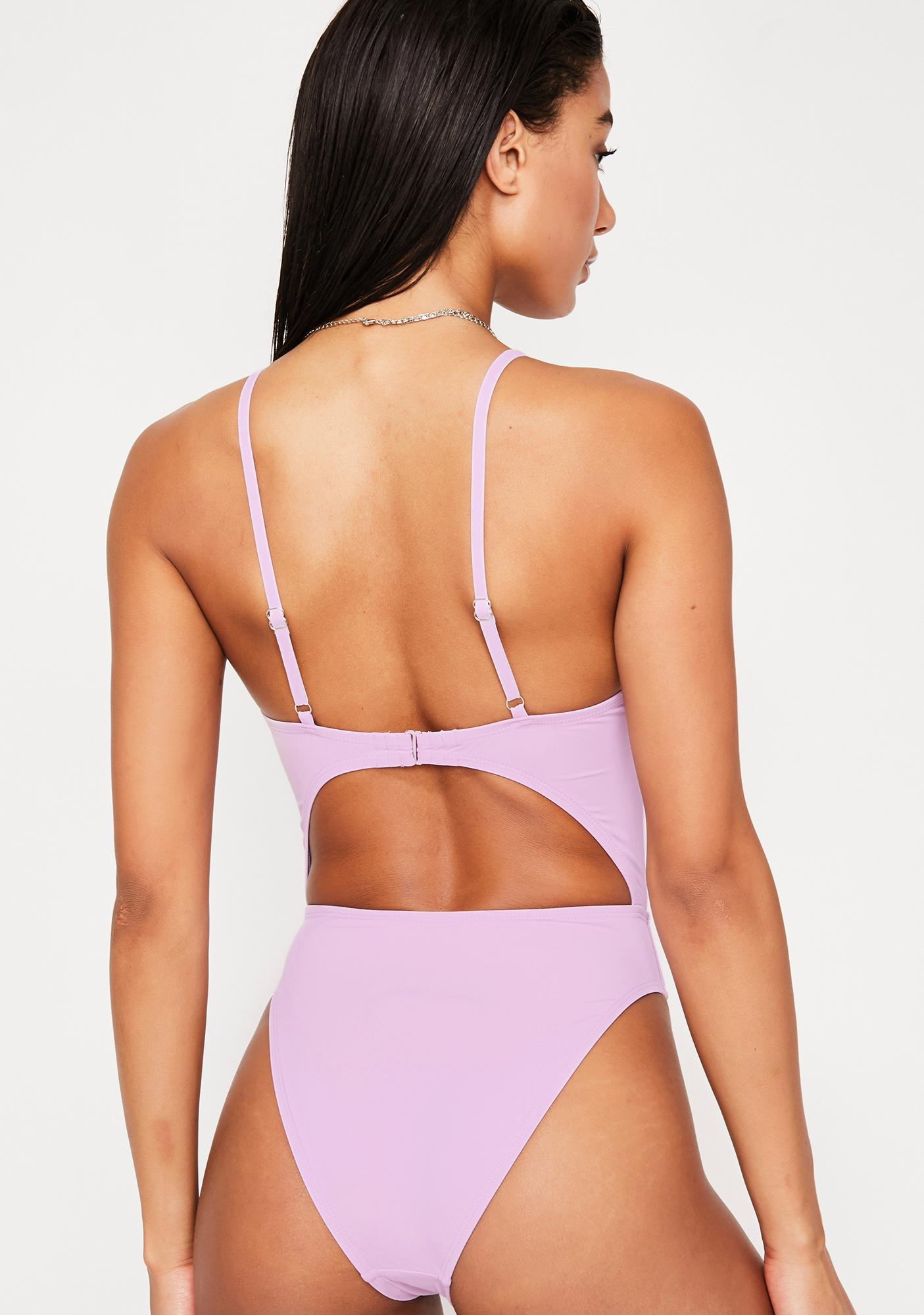 Dippin' Daisy's Lilac Tie Front Cheeky One Piece Bikini