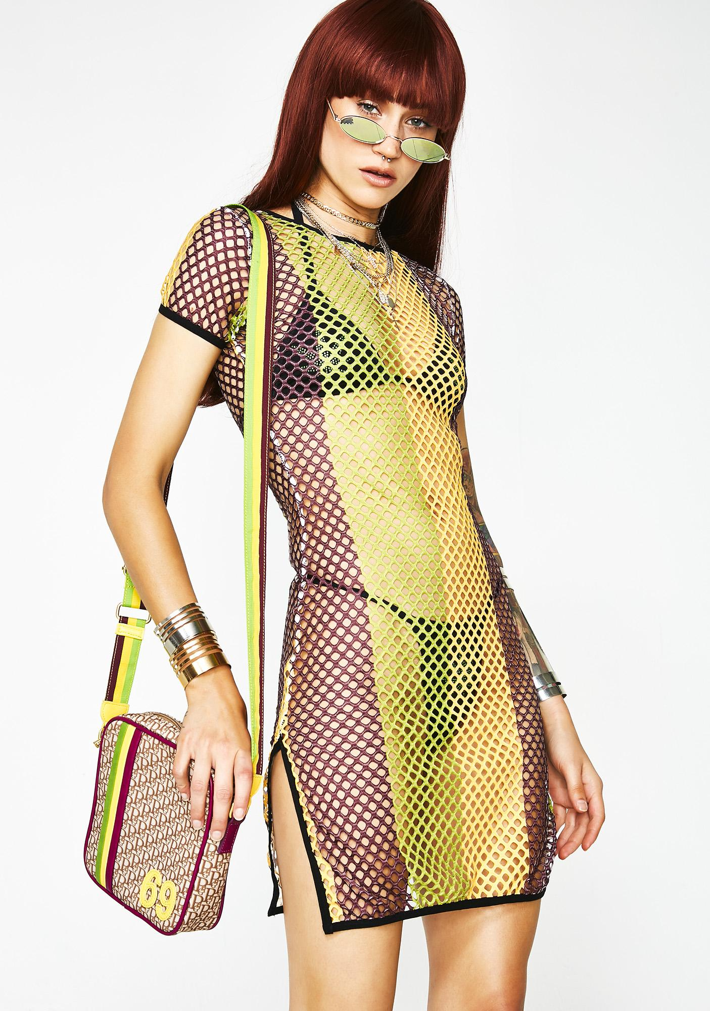 Poster Grl Vibes Speak Louder Fishnet Dress