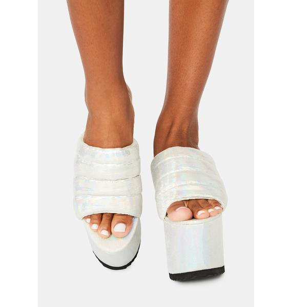 Lemon Drop by Privileged White Manolya Platform Sandals