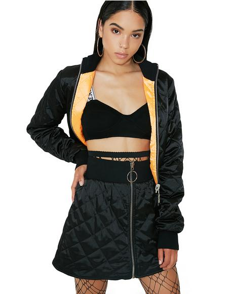 Two Faced Reversible Bomber Skirt