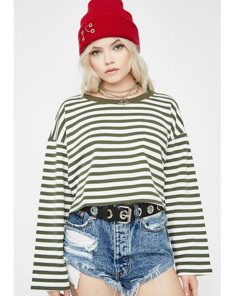 Break Away Striped Sweatshirt