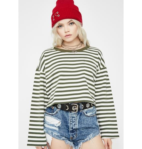 Break Away Striped Sweatshirt