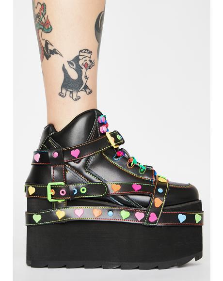 Qozmo Bondage Rainbow Heart Platform Sneakers