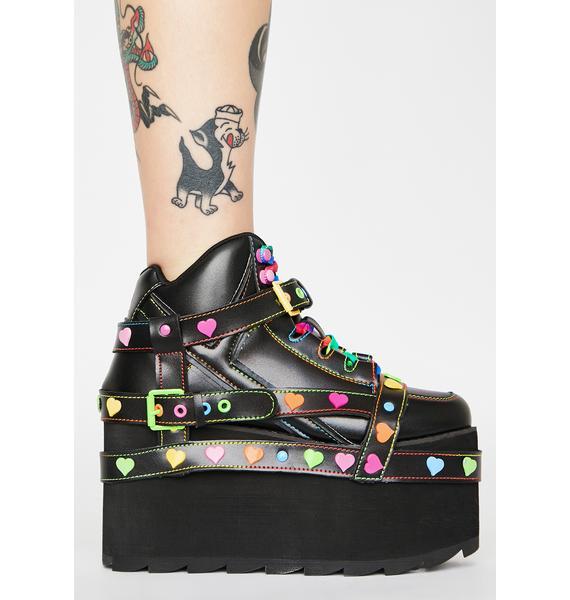 Y.R.U. Qozmo Bondage Rainbow Heart Platform Sneakers