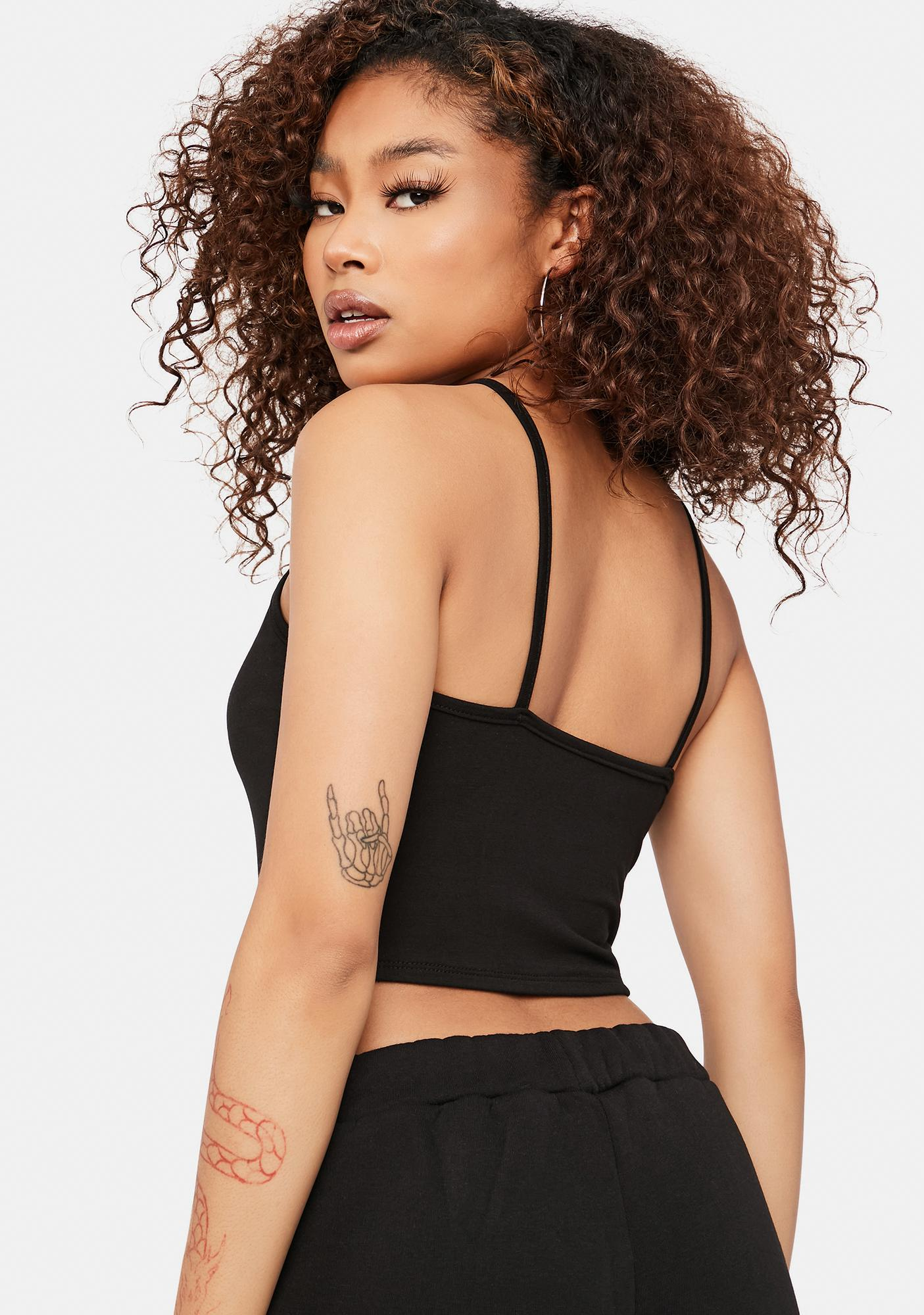 Fashionably Late Strappy Crop Tank