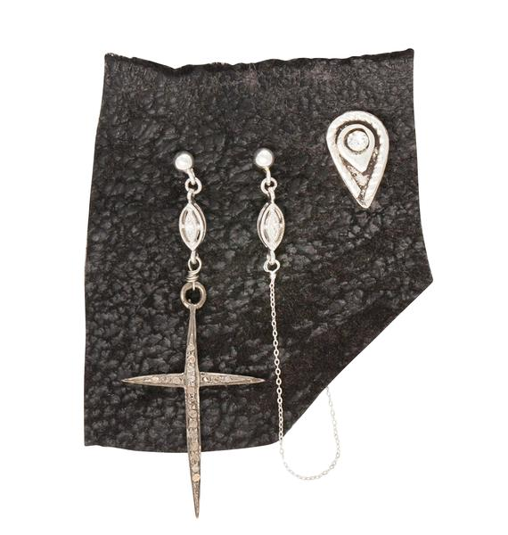 Vanessa Mooney Misty Eyes Diamond Cross Earring Set