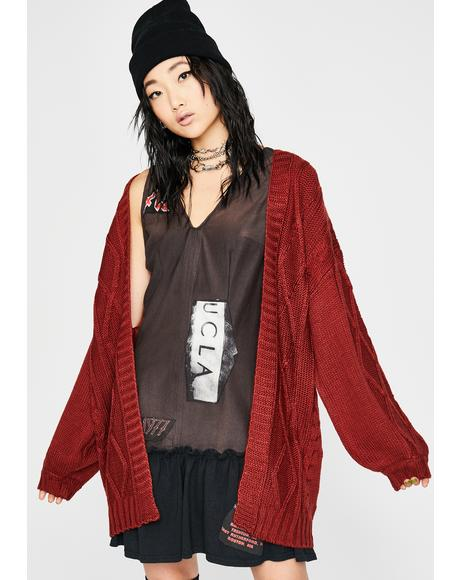 Wine Couch-Ridden Knit Cardigan