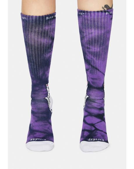 Purple Lightning Lord Nermal Socks