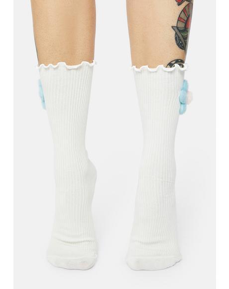 Calm Power Of The Petal Plush Flower Crew Socks