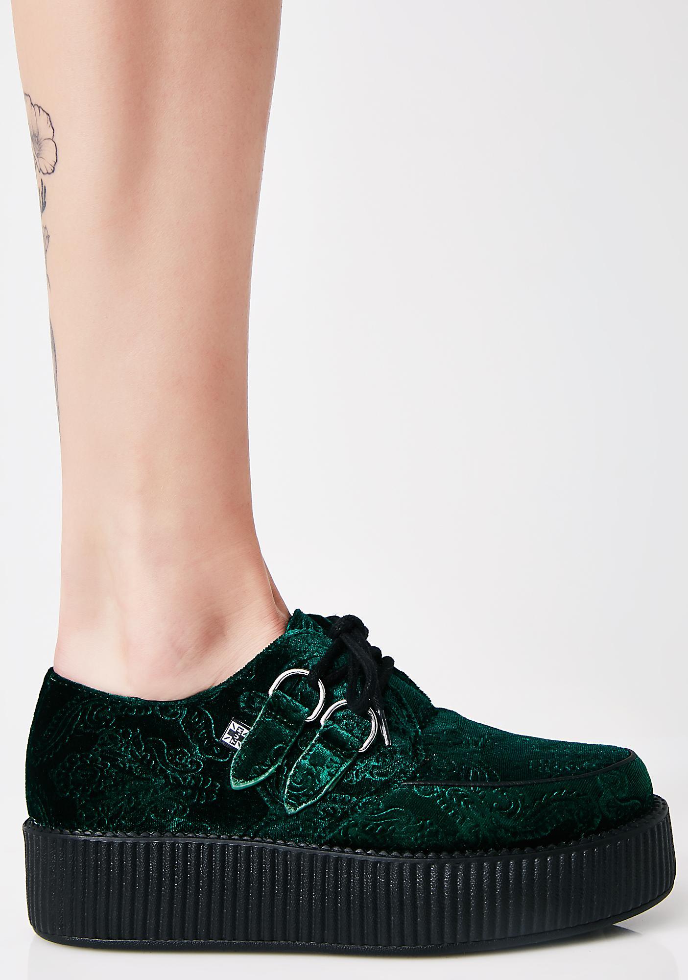 T.U.K. Emerald Embossed Velvet Mondo Viva Creepers